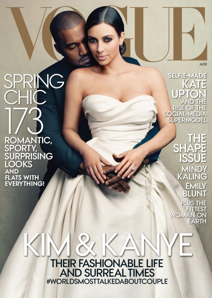 Kim Kardashian and Kanye West On the Cover of Vogue – April 2014