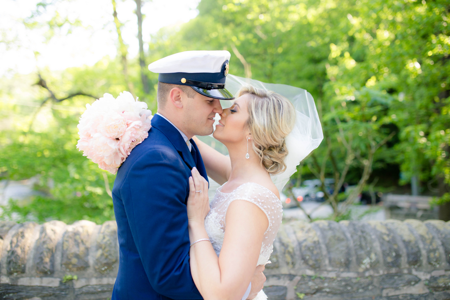Navy Blue & Blush Historical Valley Green Inn Wedding