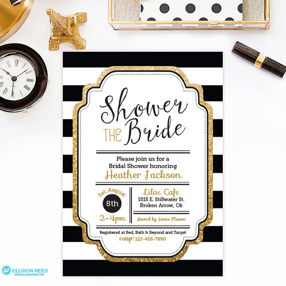 10 Printable Gold Bridal Shower Invitations