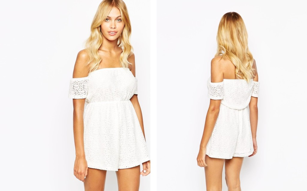 82d0c189ff85 Fashion Union Off Shoulder Romper In Floral Broderie from ASOS.com for  46