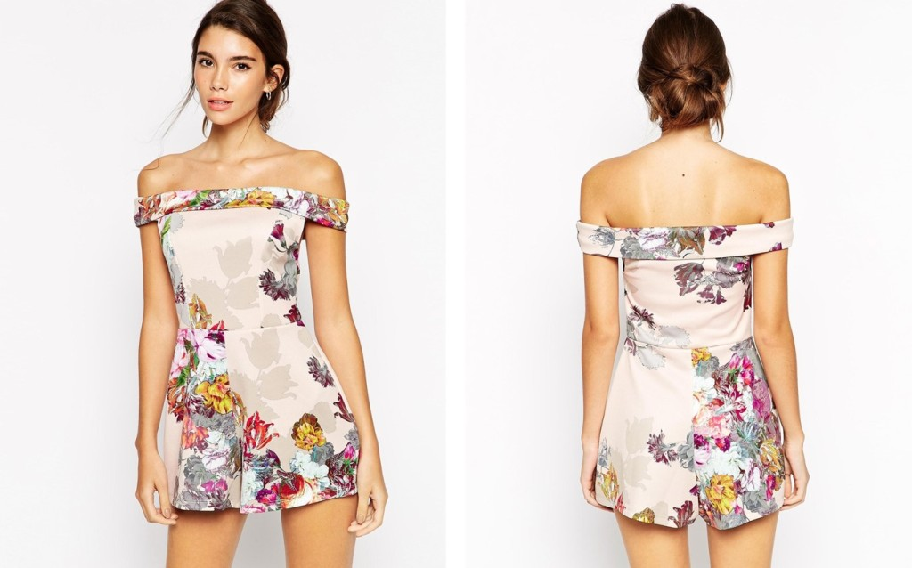 b1fc2d499423 Occassion Bardot Romper in Shadow Floral from ASOS.com  43