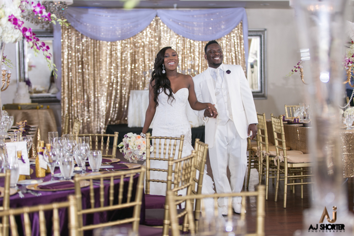 Purple And Gold Glam Great Gatsby Themed Wedding The Coordinated Bride