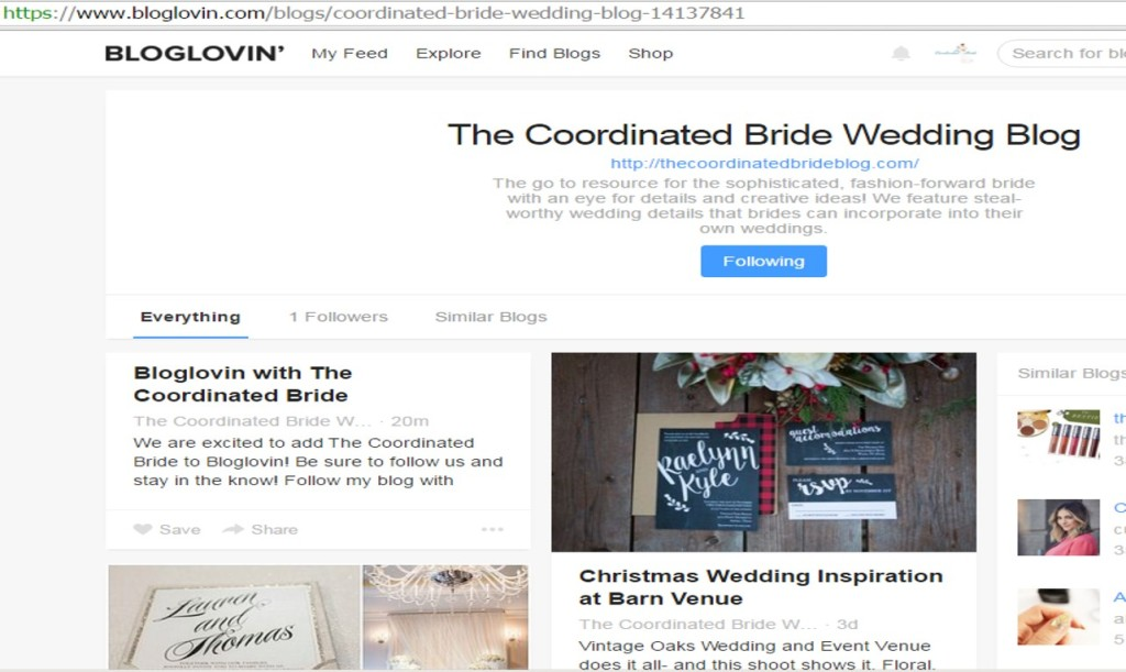 Bloglovin with The Coordinated Bride