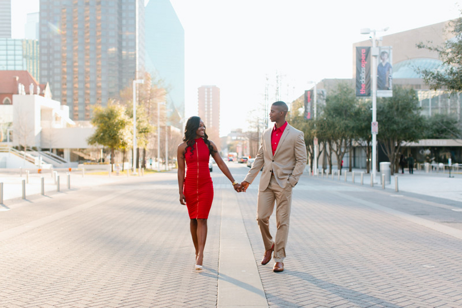 A Downtown Dallas Engagement Session, Maya and Corey