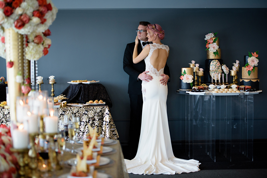 Modern Black, Coral, Gold and Ivory Styled Shoot – HRM Photography