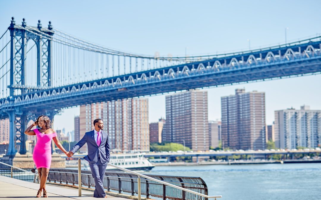 Romantic Brooklyn Bridge Engagement Shoot – Kimberley and Will