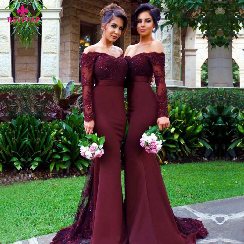 The Coordinated Bride Top 5 Bridesmaid Dress sexy-long-bridesmaid-dress-mermaid-long-sleeve-beaded-lace-burgundy-bridesmaid-dresses-20166-4k