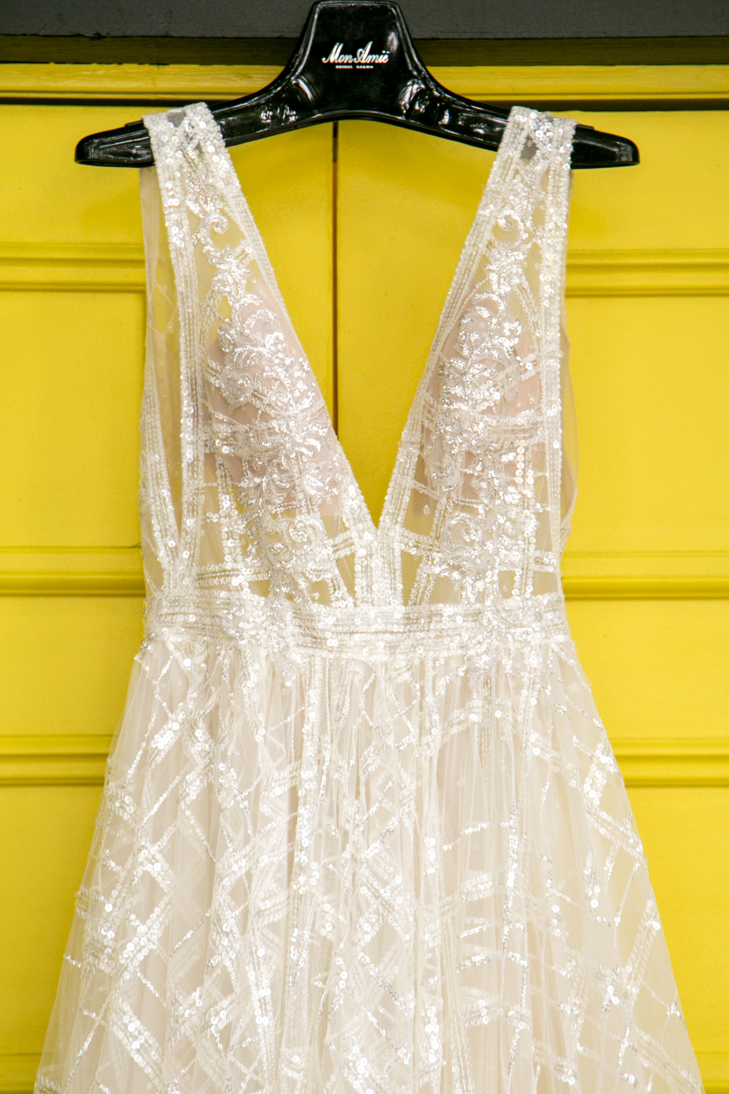Bold fashion for the summertime bride the coordinated bride for Mon amie wedding dresses