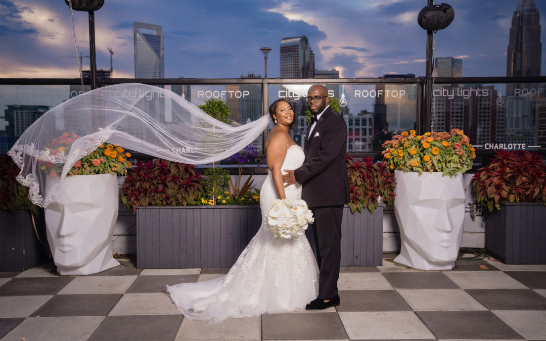 Modern Charlotte Skyline View Wedding: Tynesha & Calvin